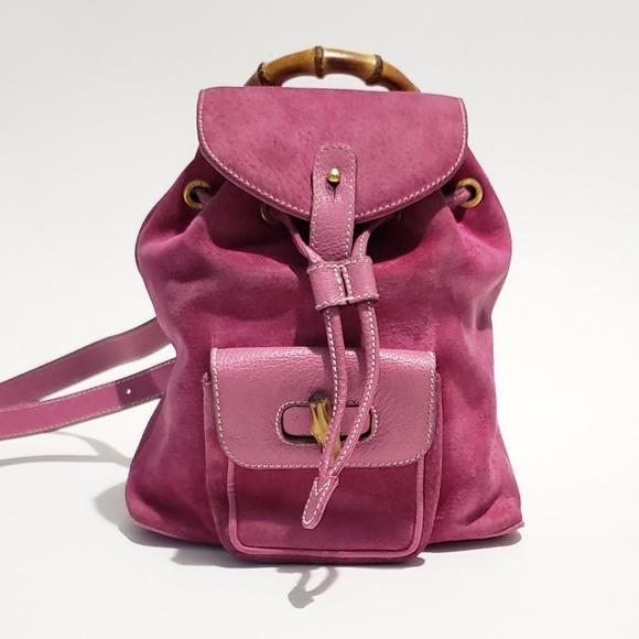 9e1fe9393 Vintage Gucci Bamboo Pink Suede Backpack Purse. M_5c9af47af63eeaa50a7e0992